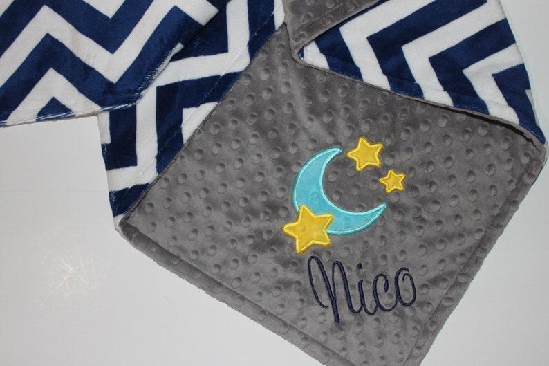 Blue and Grey Chevron and Minky blanket Chevron Baby Blanket Double MINKY Chevron Blanket Personalized Minky Blanket
