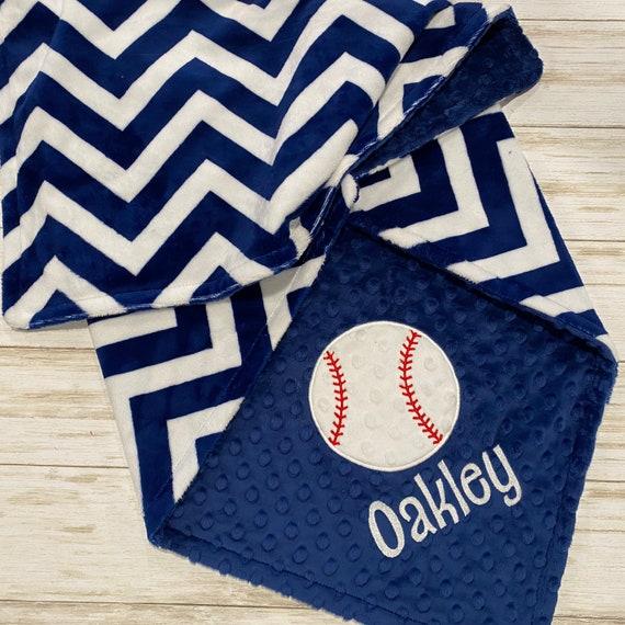 Custom Blanket PERSONALIZED Baseball Baby Blanket Sports Nursery Bedding Decor Double Minky Navy Blue Chevron Baby Boy Blanket