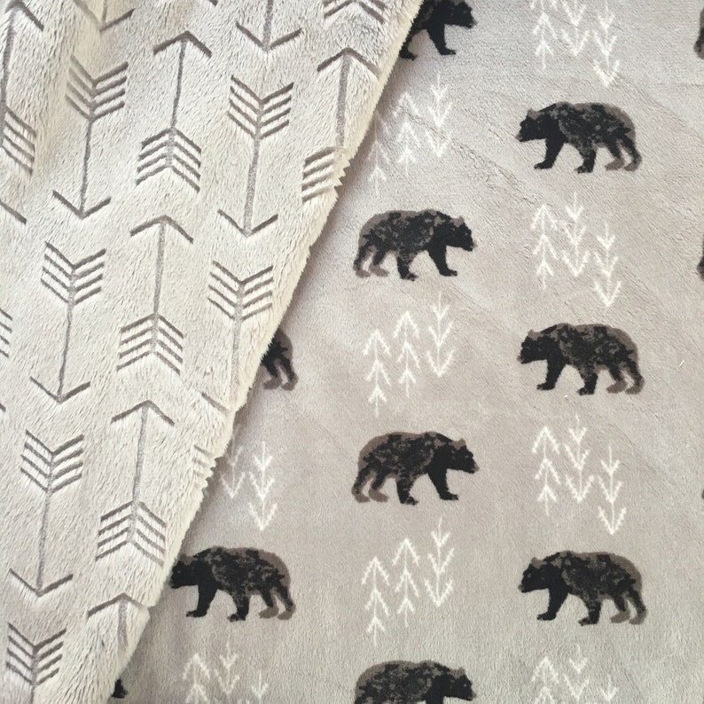 PERSONALIZED Super Soft BEARS and ARROWS Double Minky Baby Blanket Custom Blanket with Name Woodland Bearfoot Navy and Steel Gray