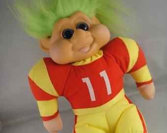 Troll Plush Football Player 11 Red and Yellow Uniform Green Hair