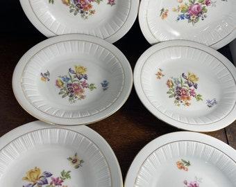 Floral Design White Porcelain Six Shallow Bowls GDR