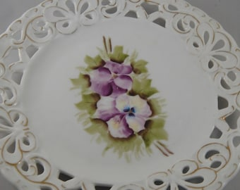 White China Plate with Hand Painted Purple Pansies Reticulated Edge Trimmed in Gold (Two Available)