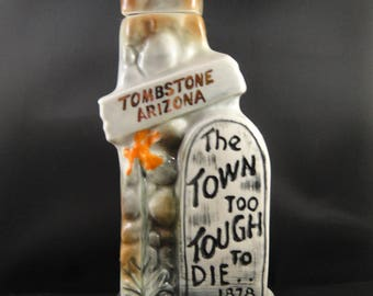 Tombstone Arizone Jim Beam Whiskey Regal China Decanter (Empty) 1970