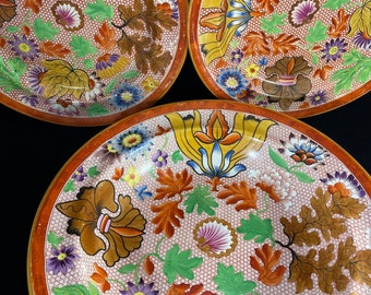 Colorful Fall Foliage Bowl and Two Plates