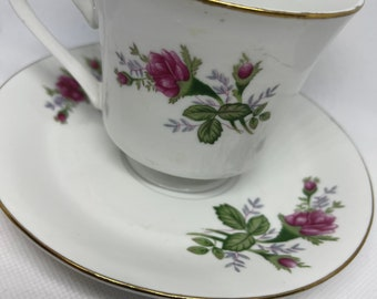 White China Tea Cup and Saucer Pink Rose Pattern