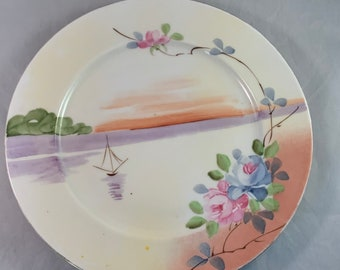 """Nippon hand painted small plate 7 3/4"""" flowers and sailboat"""