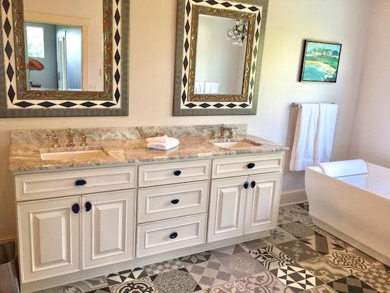 Custom Blue Agate Slice Drawer Pulls, Bathroom Drawer Pulls