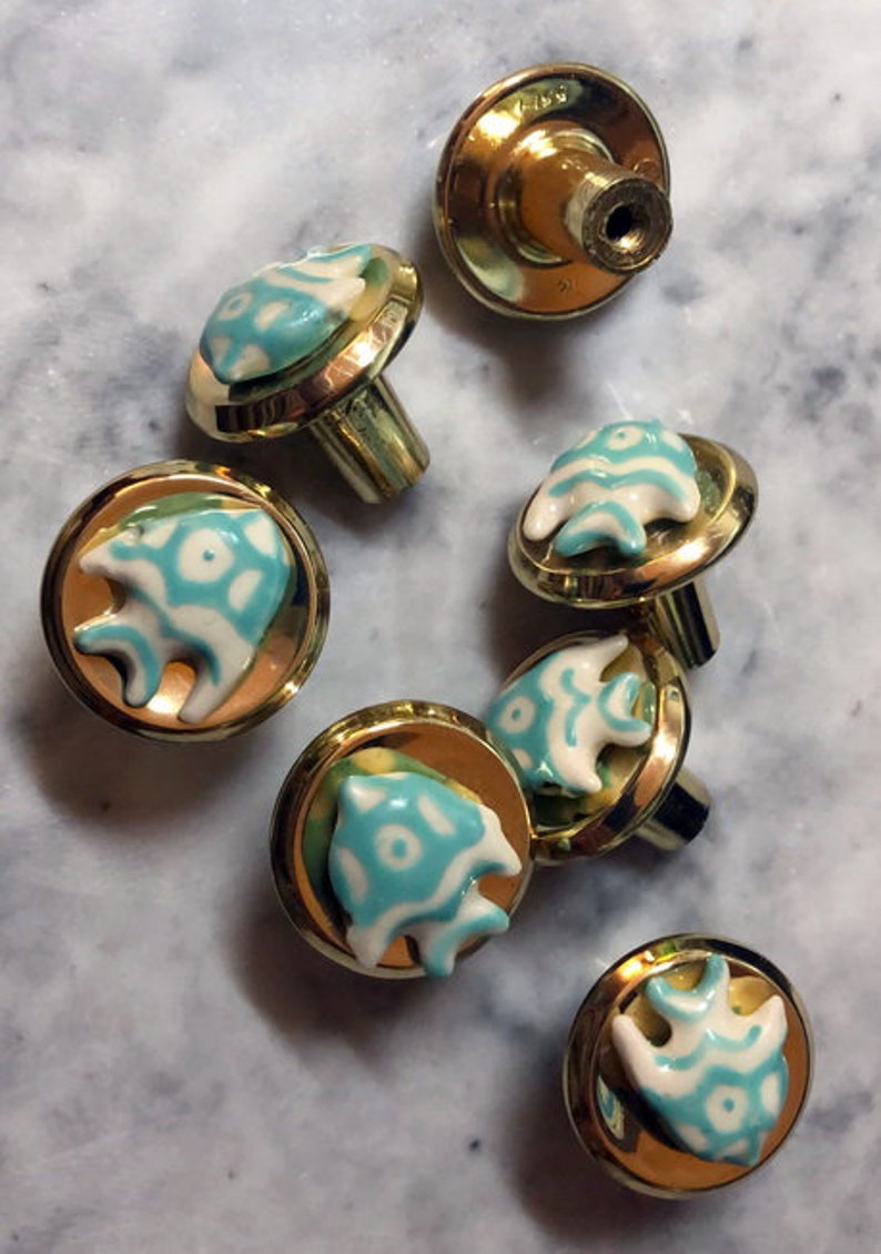 Brass Ceramic Fish Beach Pulls Knobs