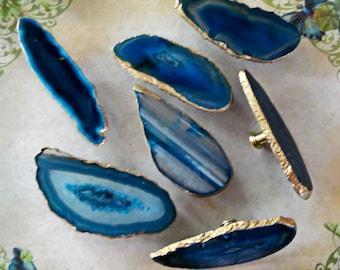 Blue Agate Slice Drawer Pulls Knobs 18K Gold Edge Brass Base