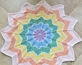 12 Point Star Rainbow Baby Blanket, Crochet Pastel Rainbow Afghan, Baby Shower or New Baby Gift, Car Seat Cover, Tummy Time Blanket