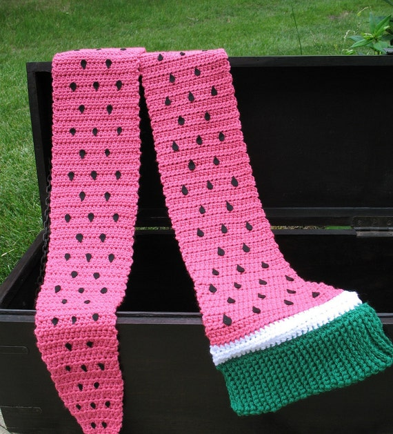 Crochet Pattern For Giant Watermelon Slice Scarf Pdf Cute For Etsy