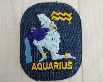 edf0c3772a4 As Is Stained Vintage Aquarius Patch 3.9