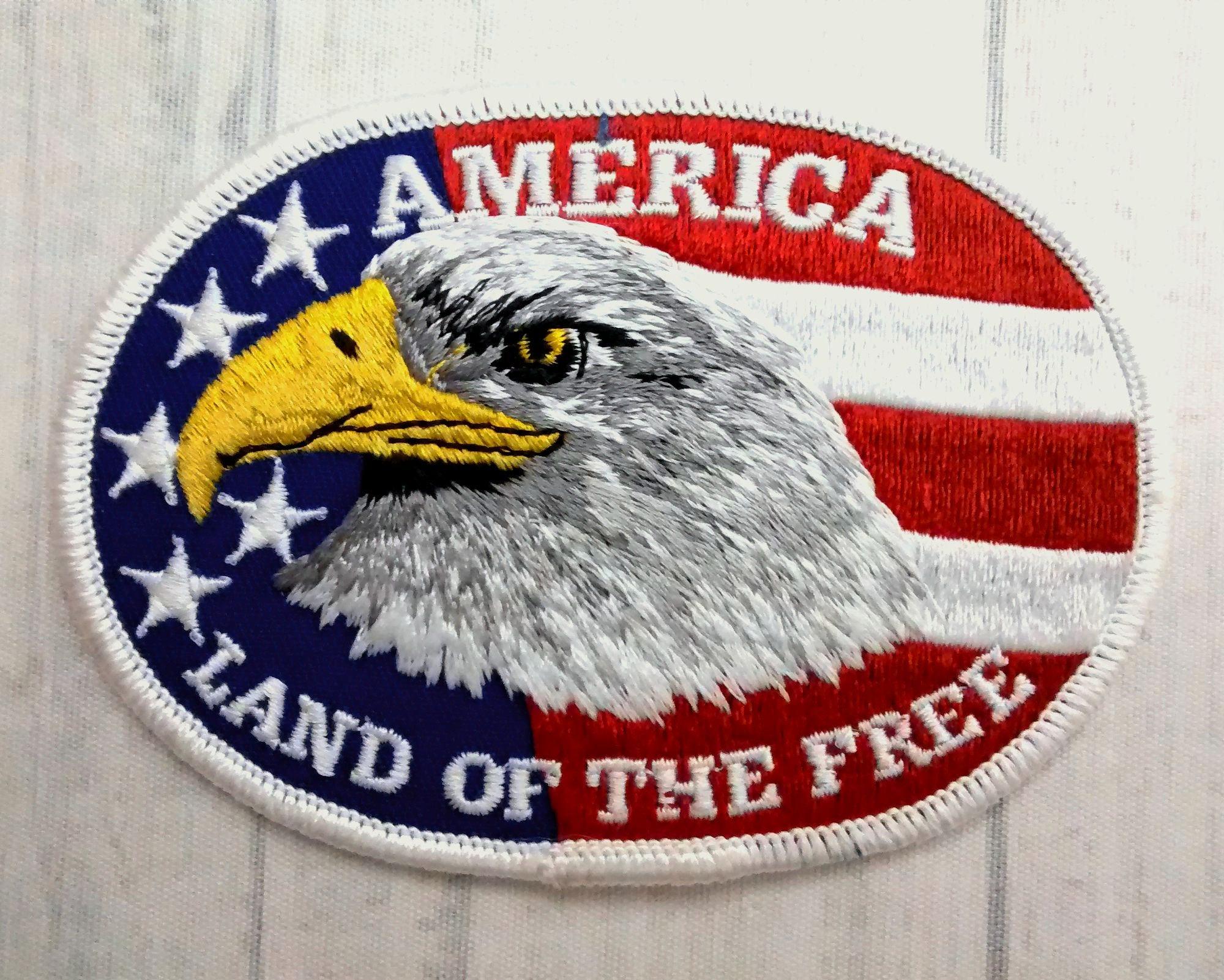 Large Patriotic Bald Eagle American Flag Patch 425 Etsy