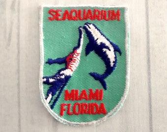 """Used Vintage Seaquarium Miami Souvenir Patch 2.6"""", Leaping Porpoise, Aquarium Memorabilia, Florida Travel Collectible, Marine Animal Park"""