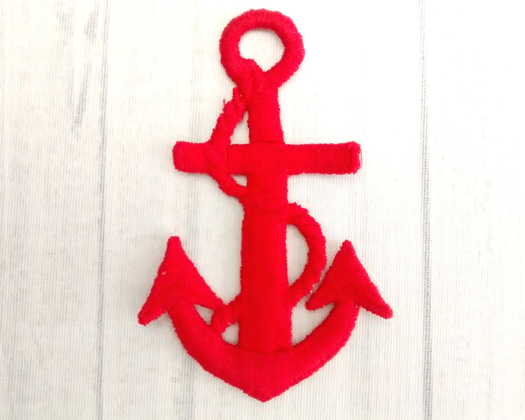 Big red anchor patch 3.5 embroidered nautical applique etsy