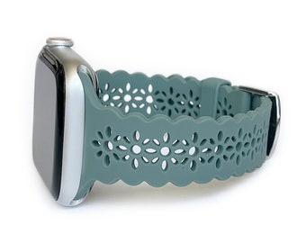 Lace Silicone Apple Watch Band laser cut women's apple watch band, apple watch band 38mm 40mm 41mm 42mm 44mm 45mm, series 1-7