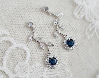 Sapphire Bridal jewelry,jewelry set,bridal earrings,wedding necklace,bridal jewelry set,statement necklace,something blue,sapphire earrings