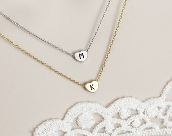 Heart Initial Necklace,  Hand Stamped Initial Necklace, Bridesmaid Gift, Birthday Gift, Wedding Gift, Mother Gift, Monogram Necklace