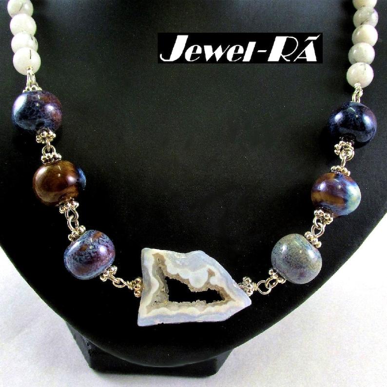 Druzy Quartz Slice Focal with 14mm Ceramic Beads and Tourmalinated Quartz Necklace /& Earrings