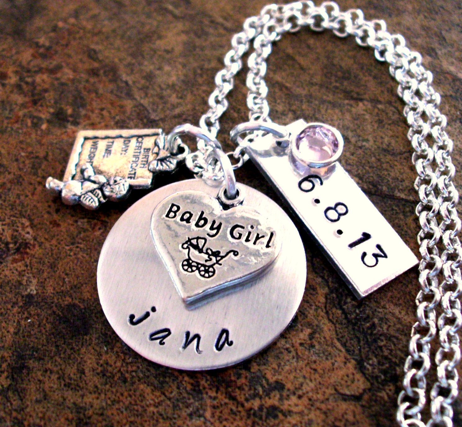 New Baby Necklace Birth Date Jewelry Personalized Mom Etsy