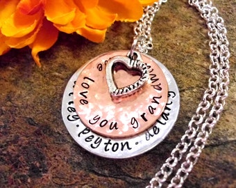 Grandma Necklace, Grandma Jewelry, Personalized Jewelry, Hand Stamped Jewelry, Grandma Gift, Jewelry for Grandma, We Love You Grandma