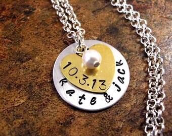 Personalized Jewelry, Wedding Necklace, Wedding Date Necklace, Engagement Jewelry, Anniversary Jewelry, Wedding Bracelet
