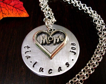 Jewelry for Mom, Gift for Mom, Mother's Day Jewelry, Personalized Jewelry for Mom, Mom Necklace, Personalized Necklace, Hand Stamped Jewelry