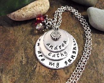 Personalized Jewelry, You Are My Sunshine, Hand Stamped Jewelry, 2 or 3 Names, Personalized you are my sunshine Jewelry