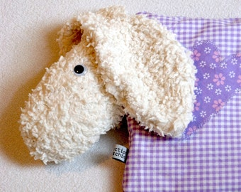 Customizable violet sheep shaped cherry pit pillow