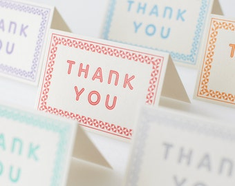 Pack of Six Letterpress Thank You Cards