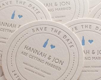 Heart + Beer - Letterpress save the date beer mat / coaster