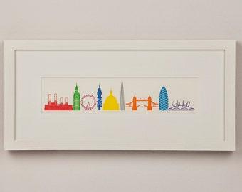 9 colour letterpress print of famous 'London Landmarks'