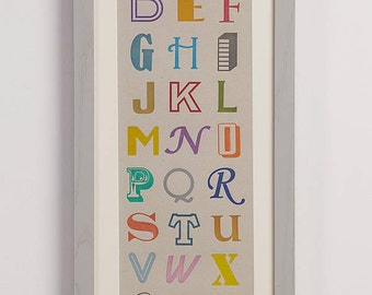 Multi Colour Letterpress Alphabet Print