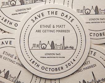 London Landmarks - Save the Date Beer Mat