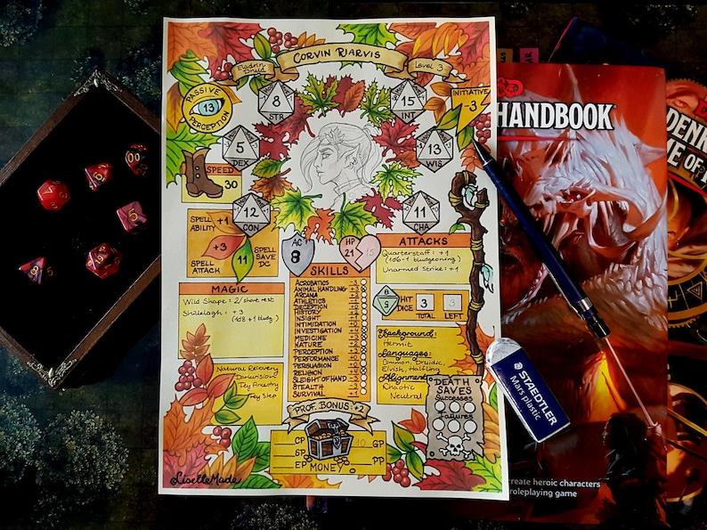 Printable Dungeons & Dragons character sheet PDF Autumn Eladrin