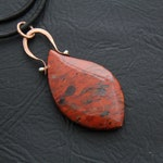 GE1010-  CAPE_JASPER GEMSTONE PENDANT, Marquis shaped, Leather cord, Copper hand-made bail & findings, Fine Silver balled pin.