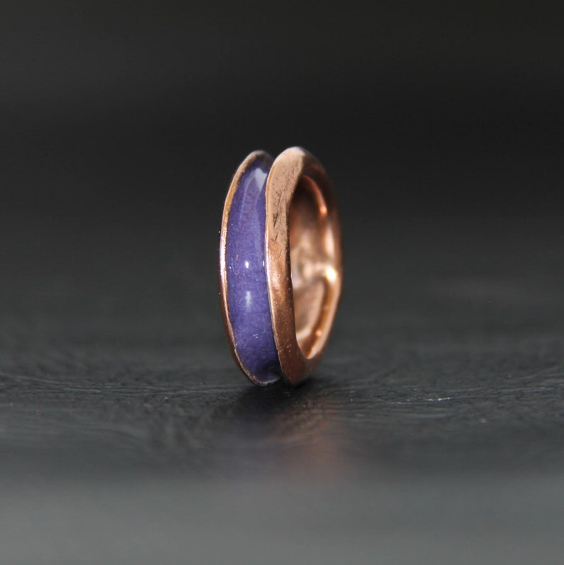 Comfort Band. RING COPPER ENAMEL Channel Ring Hand forged EN1064 Purple Enamel
