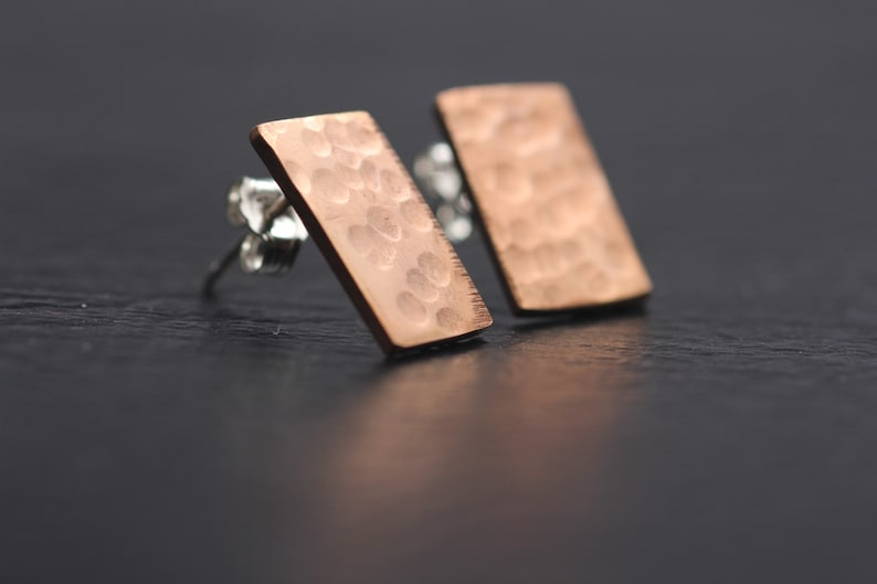 ST1009 - ROSE GOLD STUD Earrings, Rectangle, Textured, Small Stud Earrings,  Silver Posts  Gift under 50