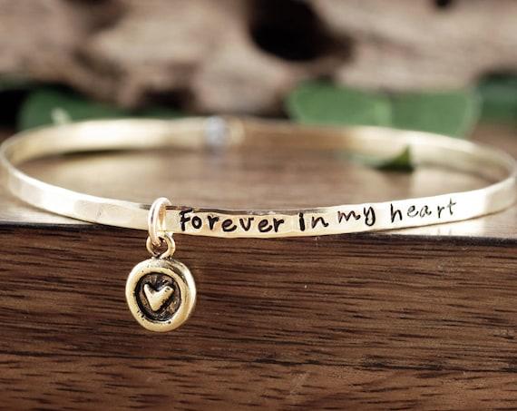 Forever in my Heart Bangle Bracelet, Memorial Bracelet, In Memory Of, Personalized Bracelet, Unique Gift Ideas, Hand Stamped Bracelet