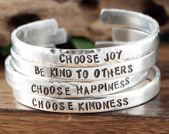 Inspirational Bracelets, Custom Cuff Bracelet, Quote Jewelry, Personalized Cuff Bracelet, Positive Message, Choose Joy, Choose Kindness
