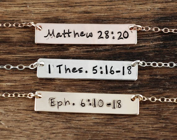 Personalized Bar Necklace, Bible Verse Necklace, Layering Bar Necklace, Scripture Necklace, Engraved Necklace, Silver Bar, Gold Bar Necklace