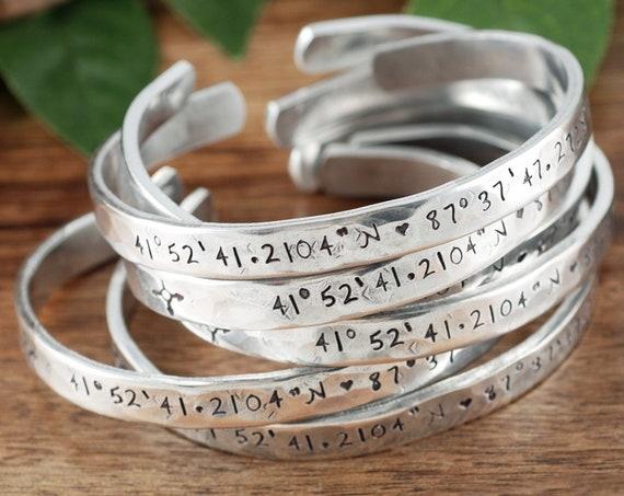 Custom Coordinates Cuff Bracelets, Coordinate Bracelets, Personalized Engraved Bracelets, Longitude Latitude Jewelry, Location Bracelet