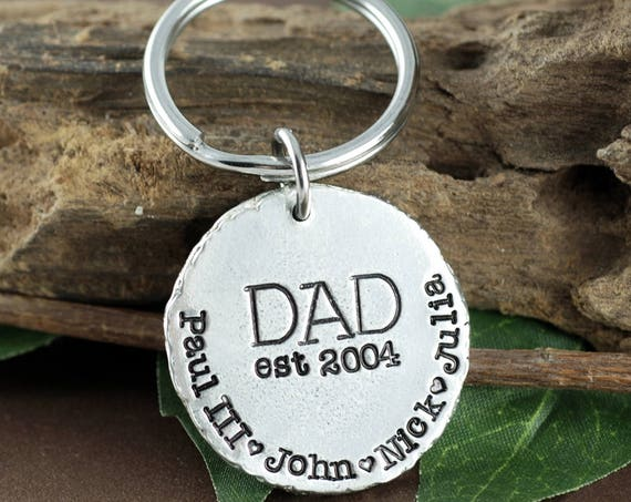 Father's Day Gift, Personalized Key Chain for Dad, Dad Engraved Keychains, Gift for Dad from Daughter, Birthday gift, Gift for Him