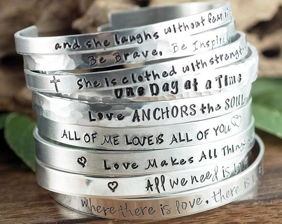 Inspirational Bracelets, Custom Cuff Bracelet, Quote Jewelry, Silver Bracelet, Personalized Cuff Bracelet, Positive Message, Quote Bracelet