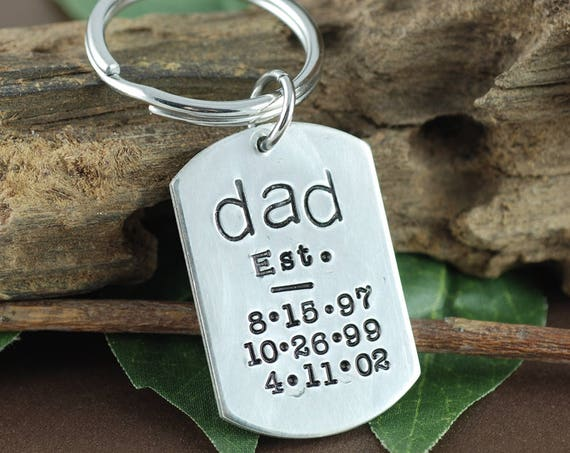 Est Dad Keychain, Keychain For Dad, Personalized Key Chain for Dad, Dad Keychain, Gift for Dad, Father's Day Gift, Key Chain for Daddy