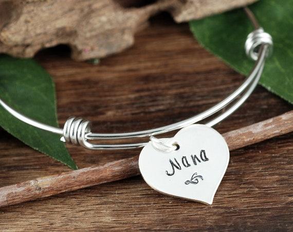 Personalized Nana Bracelet, Grandma Bracelet, Silver Charm Bracelet, Birthstone Bangle Bracelet, Mom Bracelet, Gift for Grandma