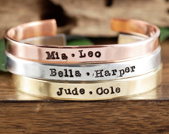 Personalized Name Cuff Bracelet, Custom Name Cuff Bracelet, Hand Stamped Bracelets, Gift for Mom, Gift for Wife, Name Bracelet, Name Gift