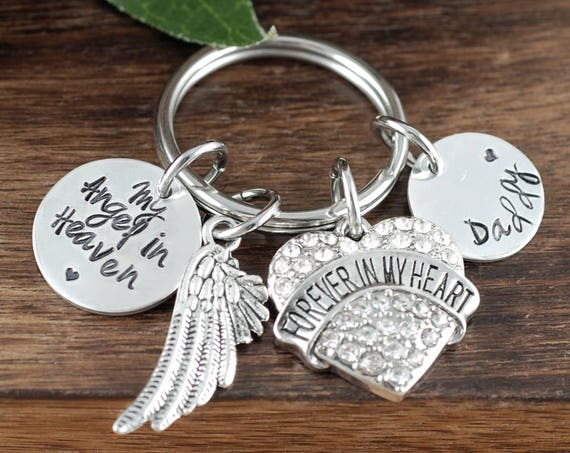 Memorial Key Chain, Forever in my Heart, Sympathy Gift, Loss of Father, Bereavement Gift, My Angel in Heaven, Personalized Gift