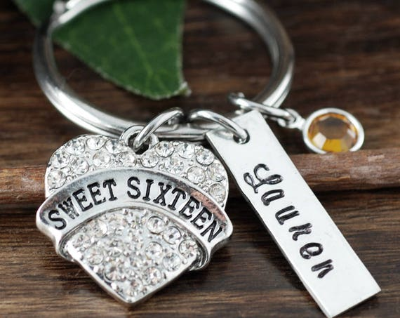 Sweet 16 Keychain Gift 16th Birthday Gifts Personalized Key Chain