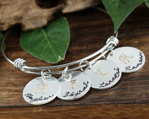 Personalized Initial Bracelet, Hand Stamped Name Charm Bracelet, Birthstone Mom Bracelet, New Mom Bracelet, Kids Name Gift, Mothers Bracelet